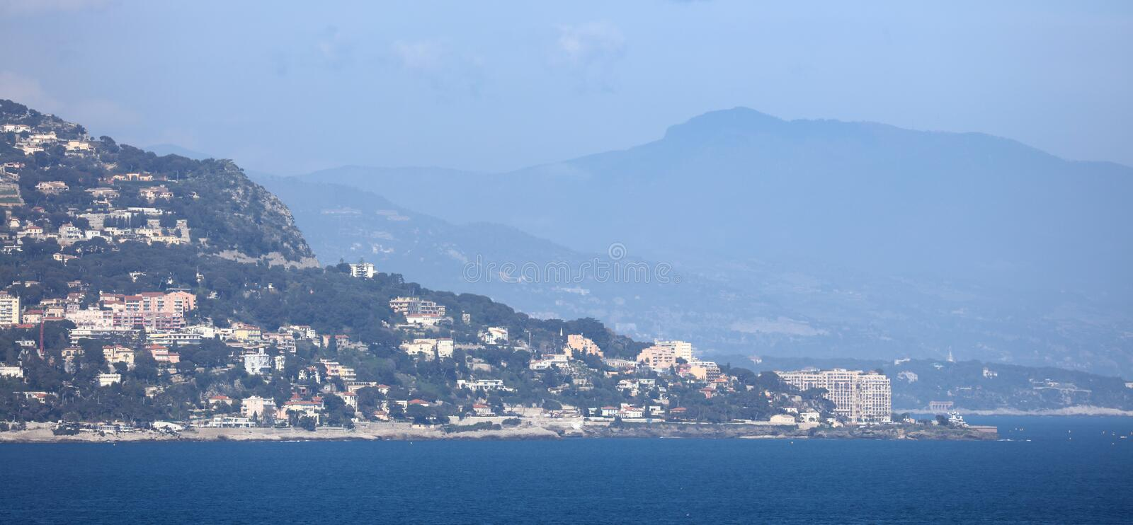 Nice French riviera, mediterranean coast, Eze, Saint-Tropez, Cannes and Monaco. Blue water and luxury yachts. French riviera, Côte d`Azur, mediterranean stock photography