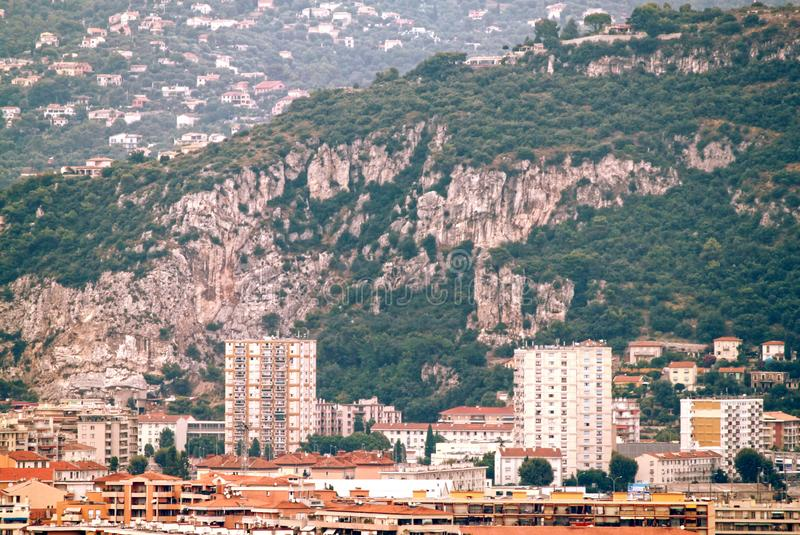 The French Riviera city of Nice, view from height of bird`s flight. The French Riviera city of Nice, beautiful view from above stock image