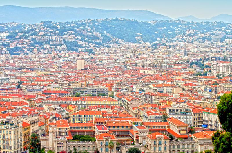 The French Riviera city of Nice, view from height of bird`s flight. The French Riviera city of Nice, beautiful view from above stock photography