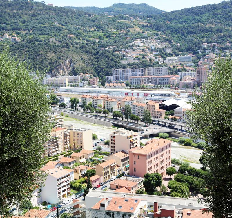 The French Riviera city of Nice, view from height of bird`s flight. The French Riviera city of Nice, beautiful view from above royalty free stock images
