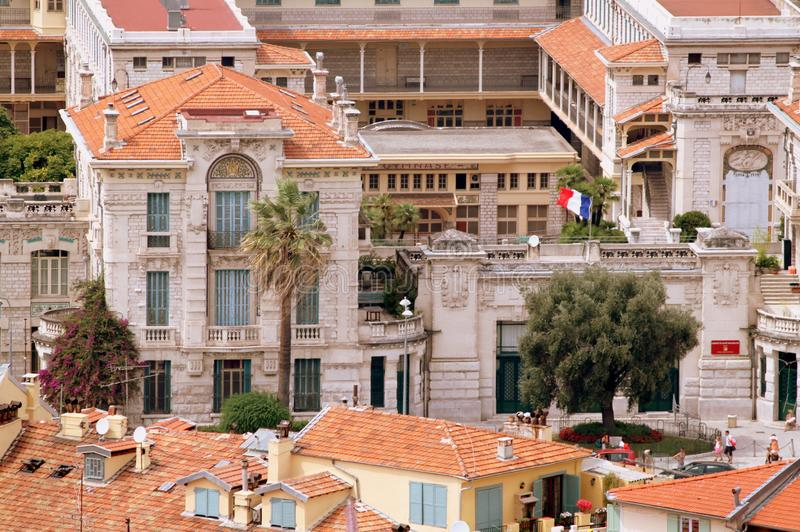 The French Riviera city of Nice, view from height of bird`s flight. The French Riviera city of Nice, beautiful view from above royalty free stock photos