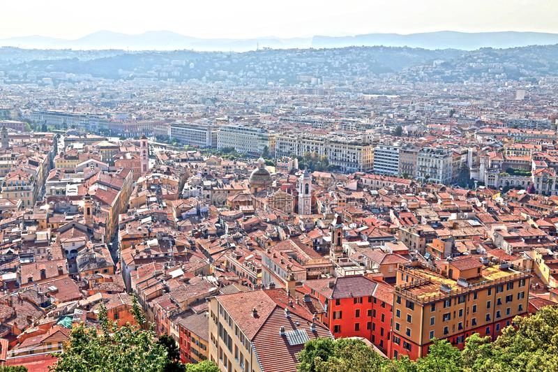The French Riviera city of Nice, view from height of bird`s flight. The French Riviera city of Nice, beautiful view from above stock photo