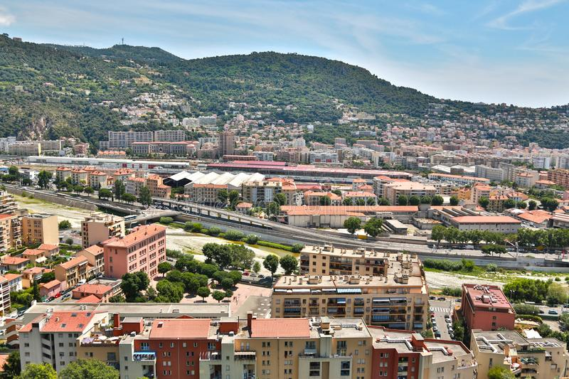 The French Riviera city of Nice, view from height of bird`s flight. The French Riviera city of Nice, beautiful view from above stock images