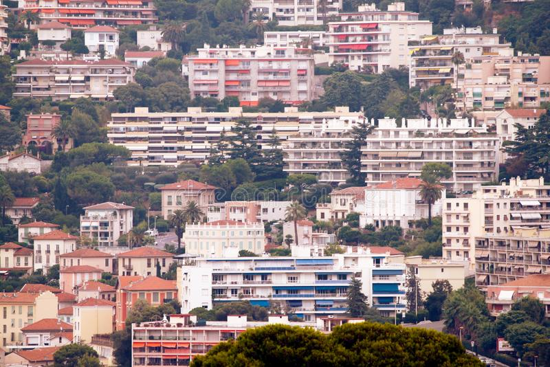The French Riviera city of Nice, view from height of bird`s flight. The French Riviera city of Nice, beautiful view from above royalty free stock photo
