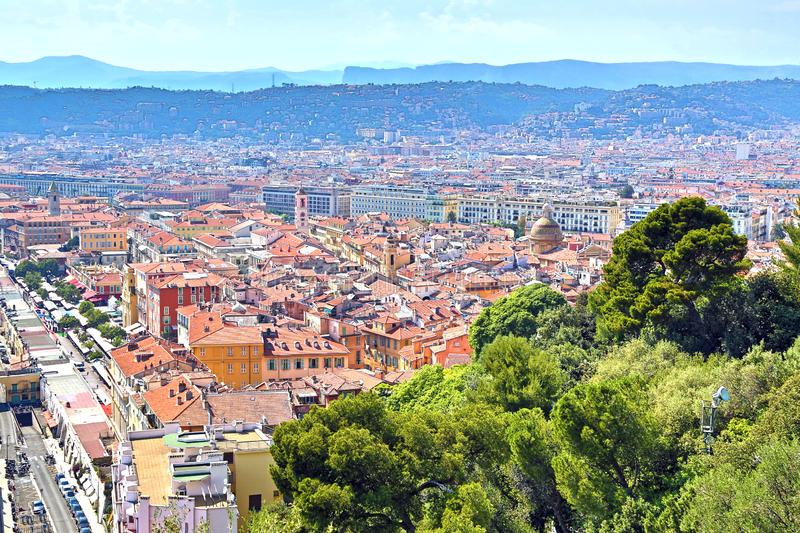 The French Riviera city of Nice, view from height of bird`s flight. The French Riviera city of Nice, beautiful view from above stock photos