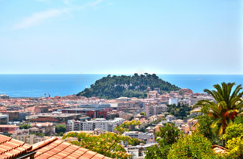 The French Riviera city of Nice, view from height of bird`s flight. The French Riviera city of Nice, beautiful view from above royalty free stock photography