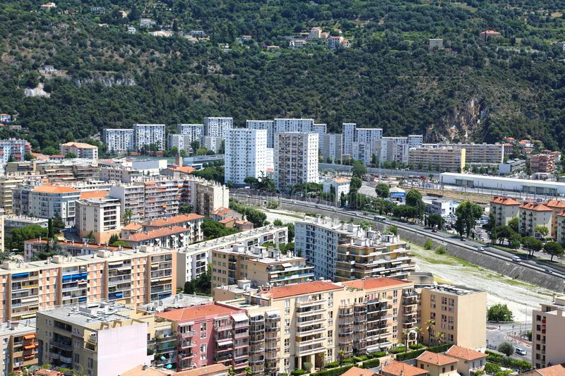 The French Riviera city of Nice, view from height of bird`s flight. The French Riviera city of Nice, beautiful view from above royalty free stock image