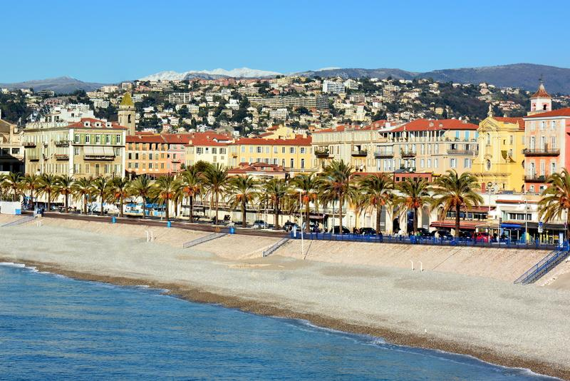 French Riviera, Nice city, Quai des Etats-unis. The United States quay in Nice city is a way following the mediterranean sea at the bottom of the castle hill royalty free stock photos