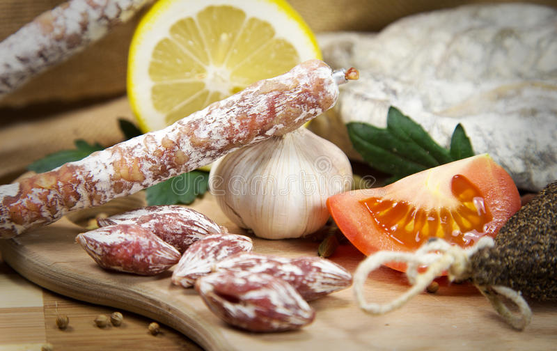 French salami assorted stock photos