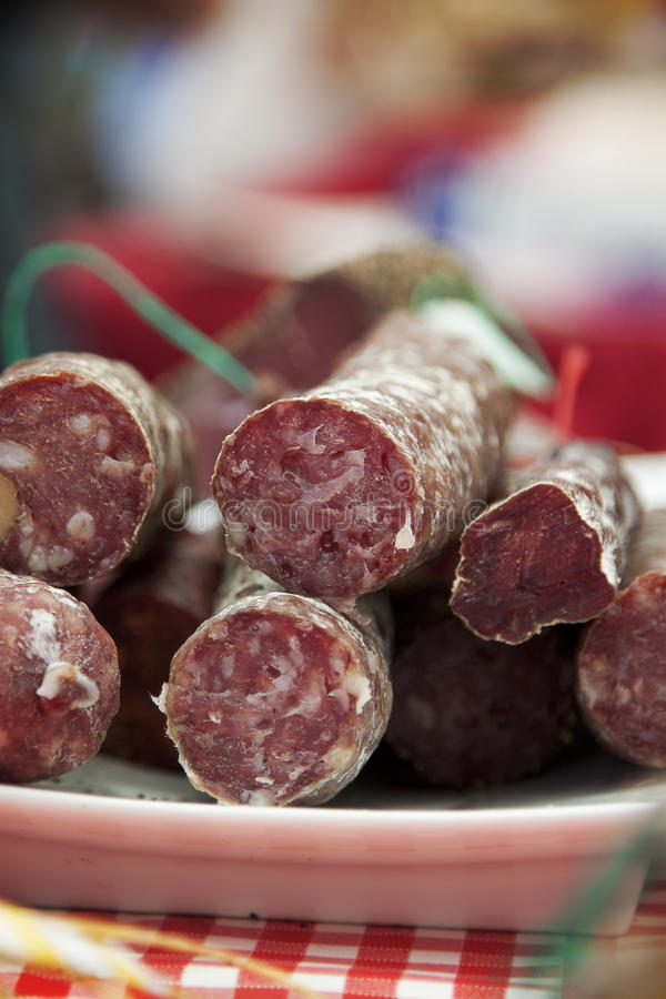 French sausage at market stock images