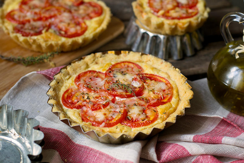 Download French Savoury Pie Quiche With Cottage Cheese And Tomatoes Stock Photo - Image: 76859924