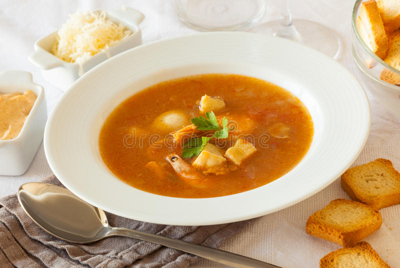 French seafood soup royalty free stock image