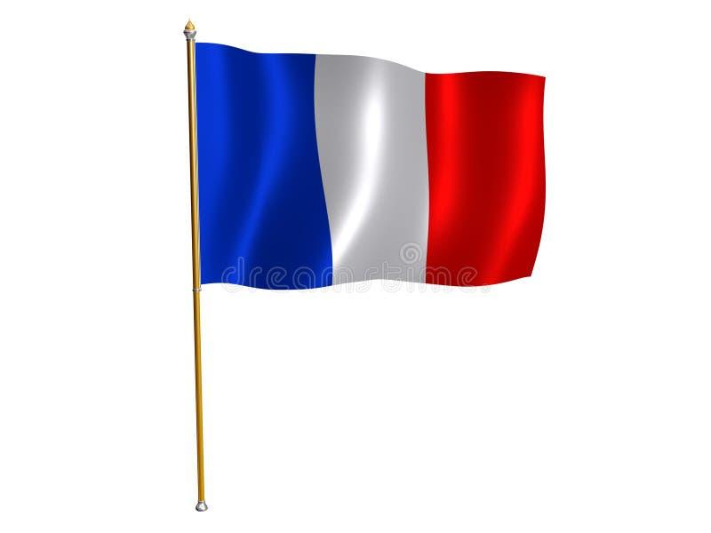French silk flag. Silk flag of France stock illustration