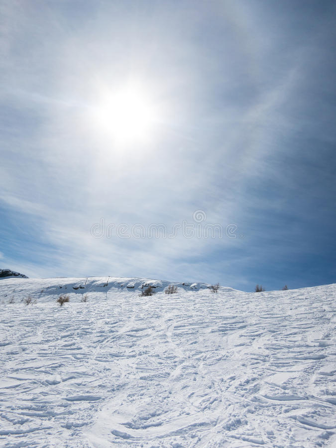 French ski resort high in the mountains stock photos