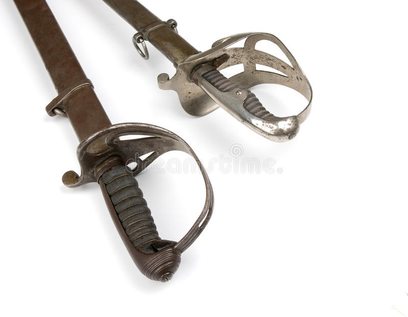 French soldier saber. Isolated over white stock photo