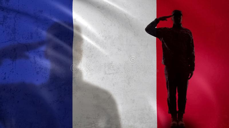 French soldier silhouette saluting against national flag, national guard patriot. Stock photo stock photography