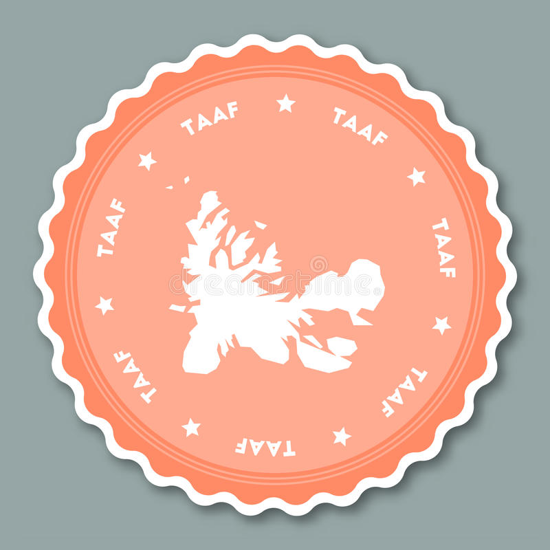 French Southern Territories sticker flat design. stock illustration