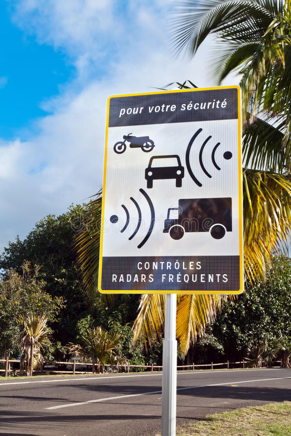 French speed control sign royalty free stock photography