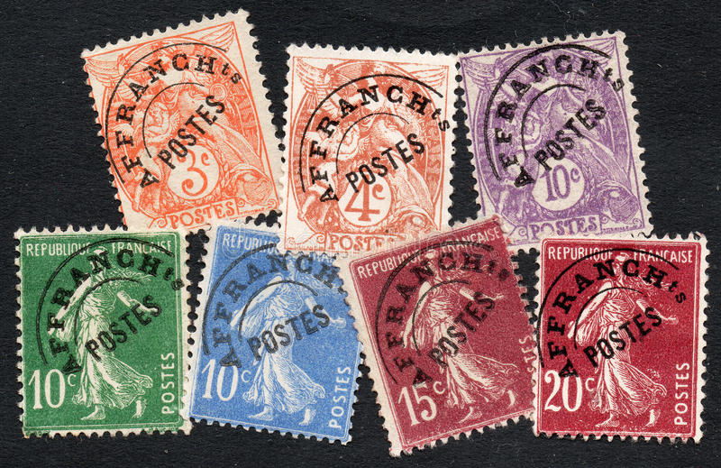 French stamps. Stamps of France with precanclels stock photography
