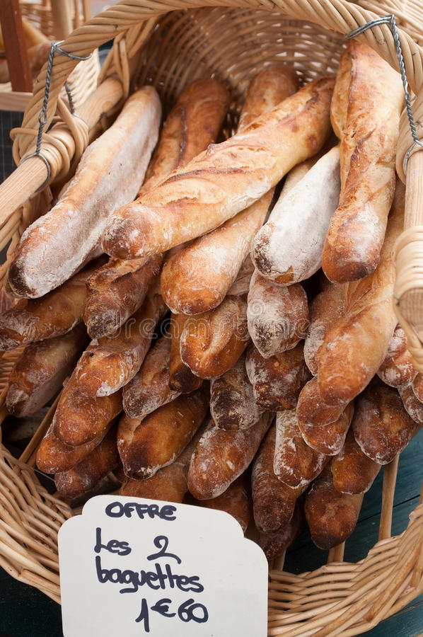 French sticks breads. In a wicker basket royalty free stock photography