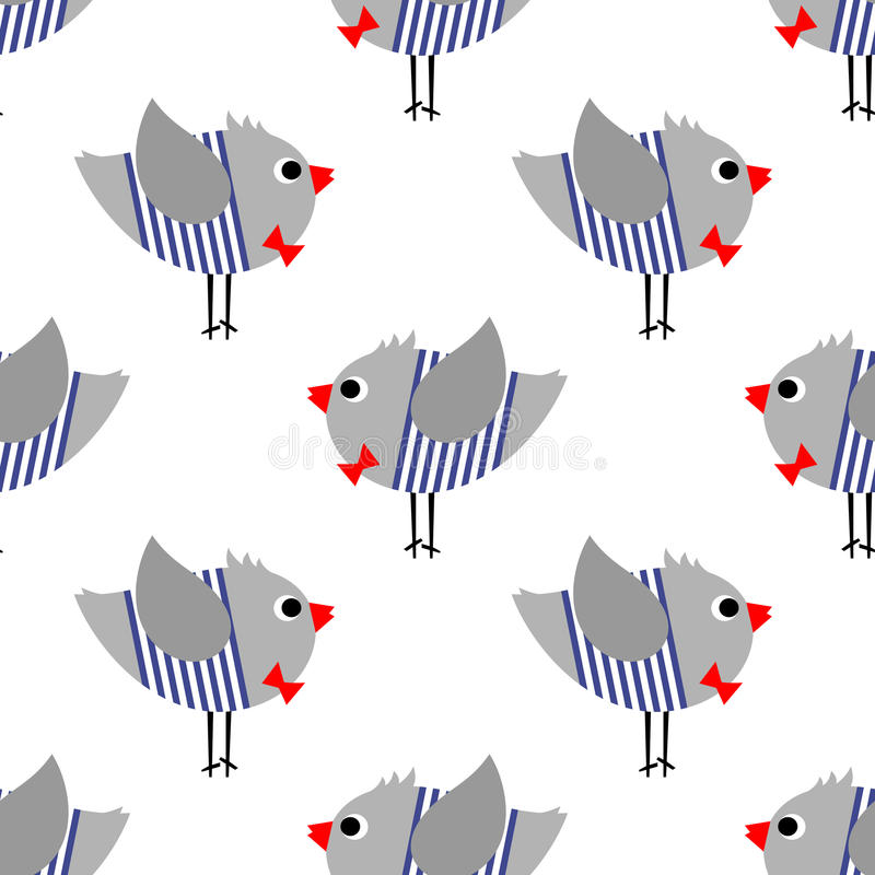 French style birdie boy seamless pattern on white background. Cute cartoon bird vector illustration. French style dressed sparrow with red bow tie and striped royalty free illustration