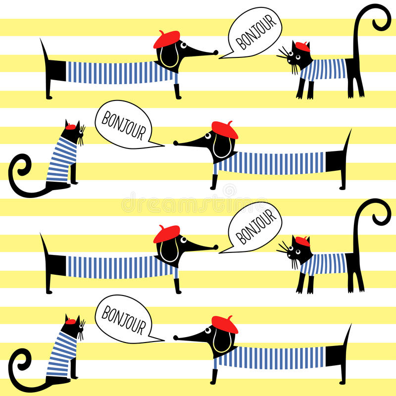 French style cats and dogs saying bonjour seamless pattern on striped background. stock illustration