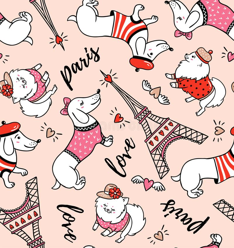 French style dog seamless pattern on pink background. Cute cartoon parisian dachshund and Eiffel tower vector illustration. royalty free illustration