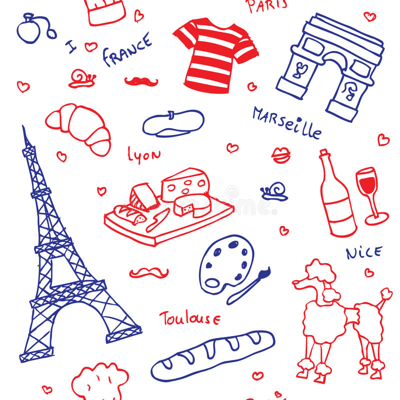 French symbols and icons seamless pattern stock illustration