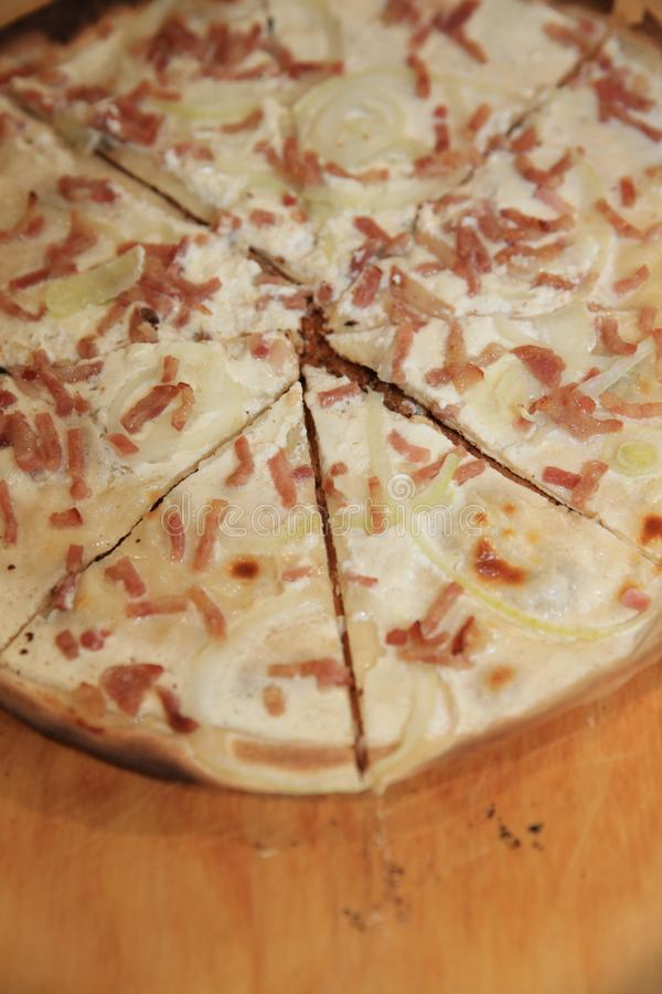 French Tarte flambée in Alsace. France royalty free stock image