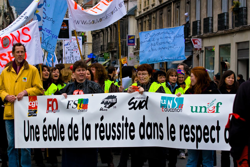 Download French Teachers Strike editorial stock photo. Image of street - 7166653