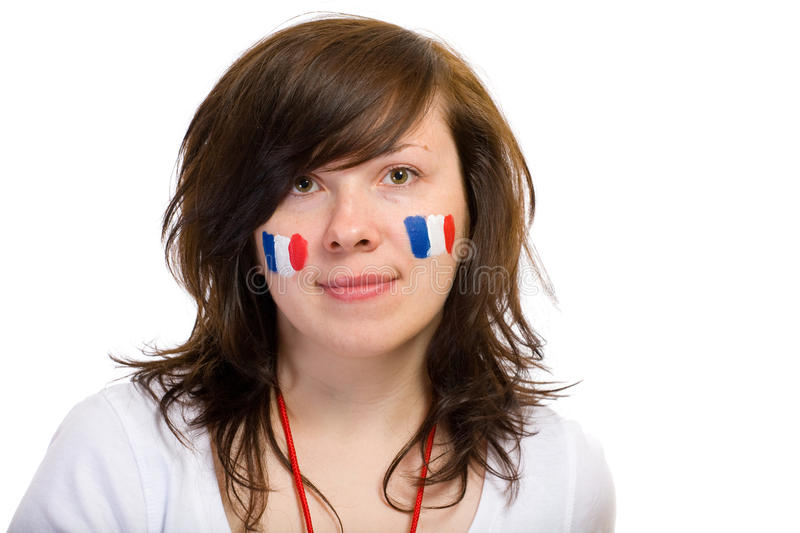 French team supporter with flags on her cheeks stock photo