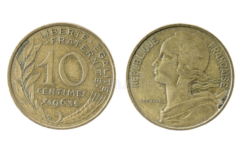 French 1963 Ten (10) Centimes coin royalty free stock photos