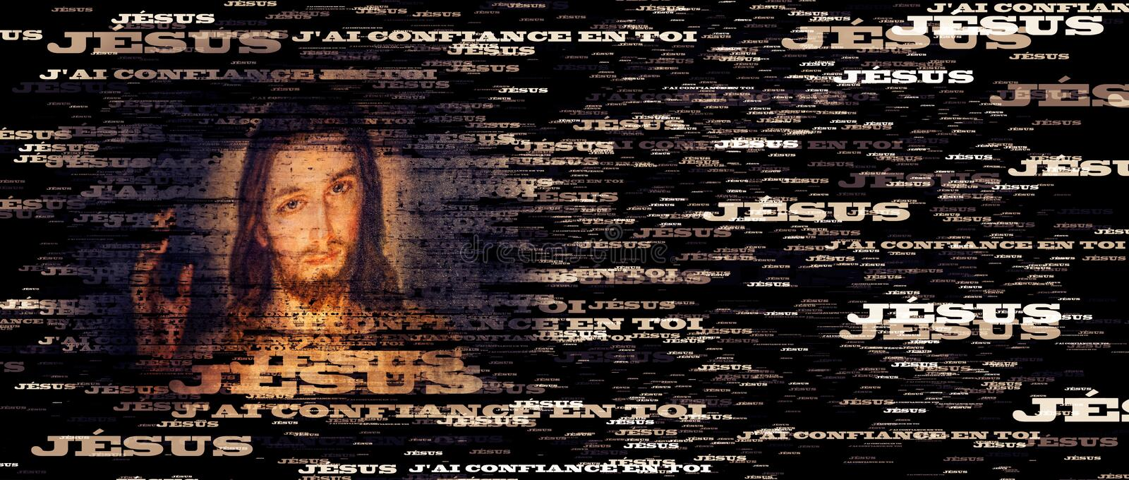 French text portrait of Merciful Jesus stock photos