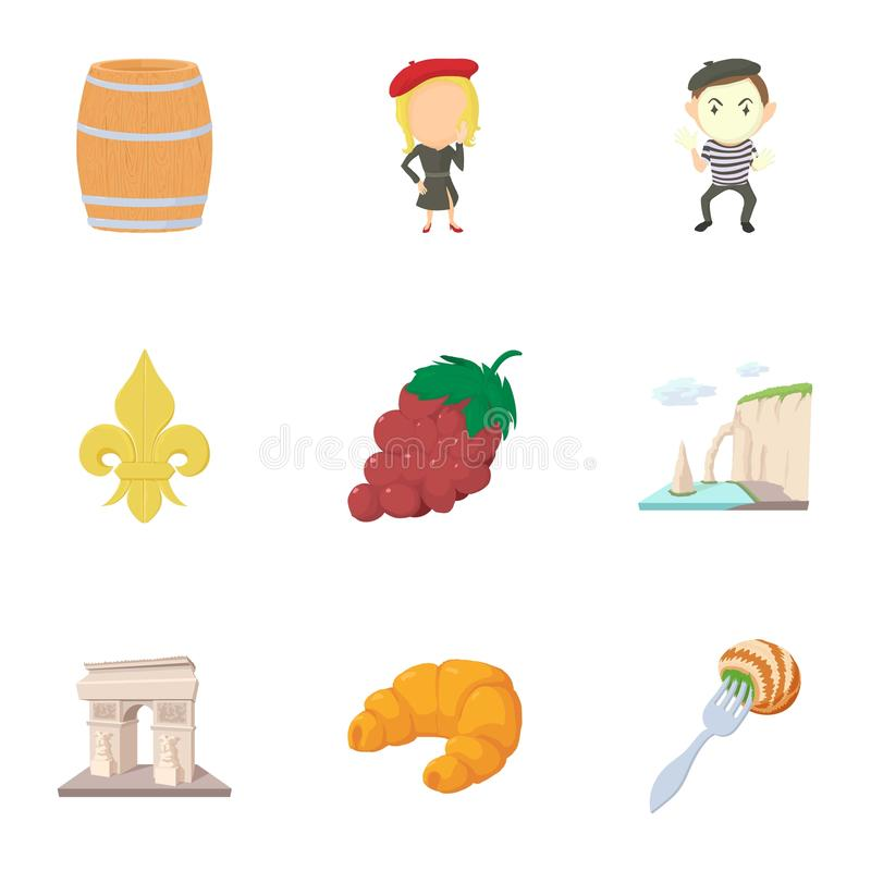 french things icons set cartoon style stock vector illustration rh dreamstime com Paris Clip Art Vintage Christmas Clip Art