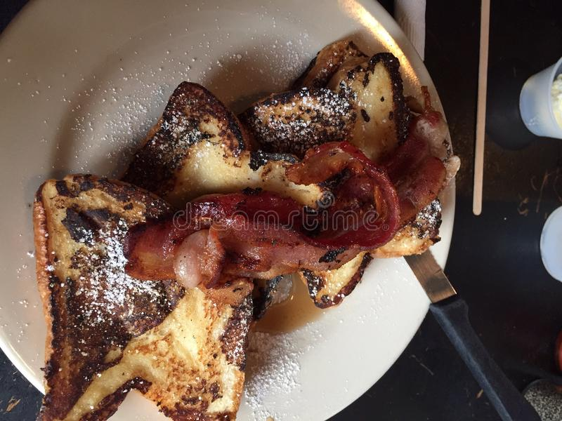 French toast and bacon stock image