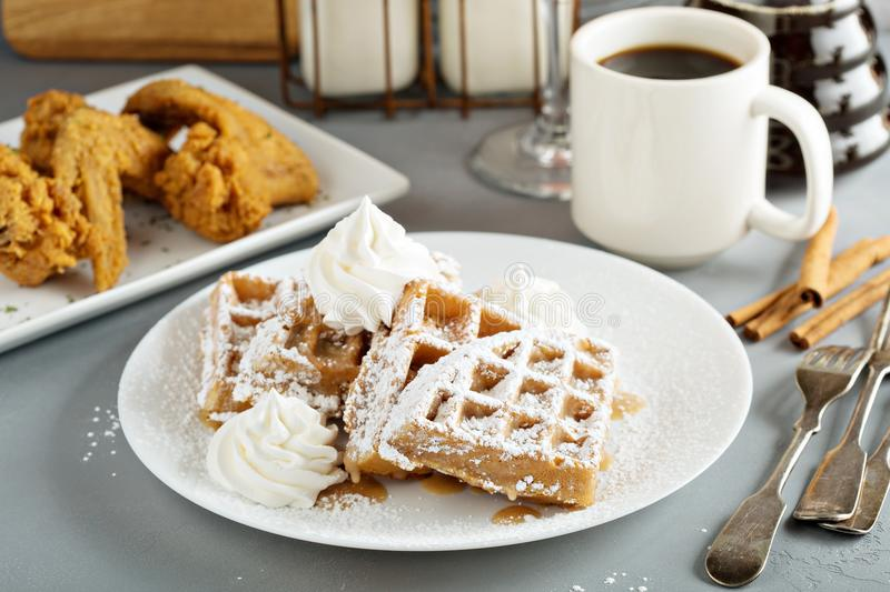 French toast waffles with fried chicken. French toast cinnamon waffles with fried chicken stock images