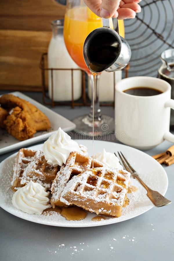 French toast waffles with fried chicken. French toast cinnamon waffles with fried chicken stock image