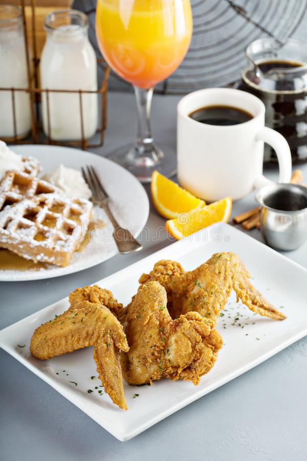 French toast waffles with fried chicken. French toast cinnamon waffles with fried chicken royalty free stock image