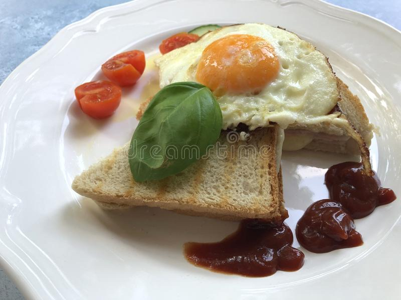 French Toasted Cheese Sandwich With Ham, Fried Egg, Salad