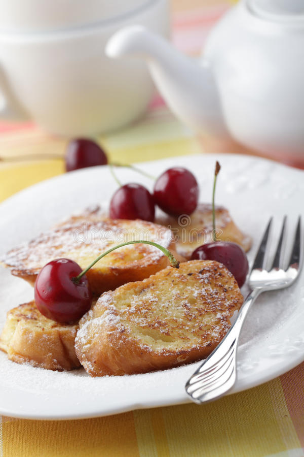 French toasts with cherry stock photo