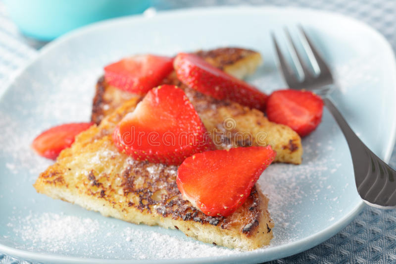 French toasts with strawberry stock photo