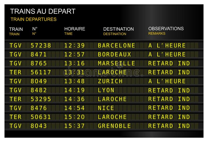 French train station departures board royalty free illustration