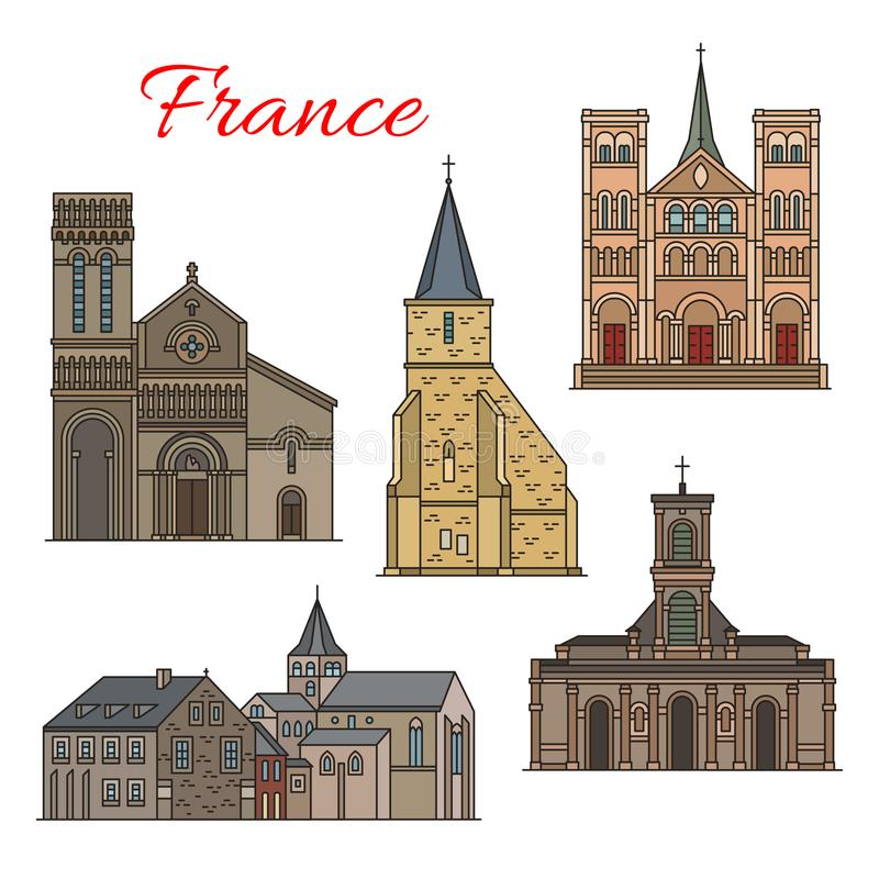 French travel landmark icon of Havre architecture. French travel landmark thin line icon with architecture of Havre city. St Michel Chapel, Church of St Vincent stock illustration
