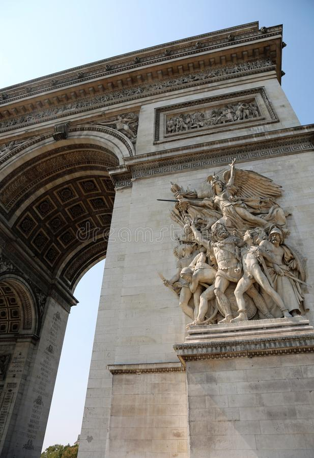 French Triumphal arch with the sculpture called Le Depart de 179. French Arc de Triomphe also called Triumphal arch with the sculpture called Le Depart de 1792 stock photo