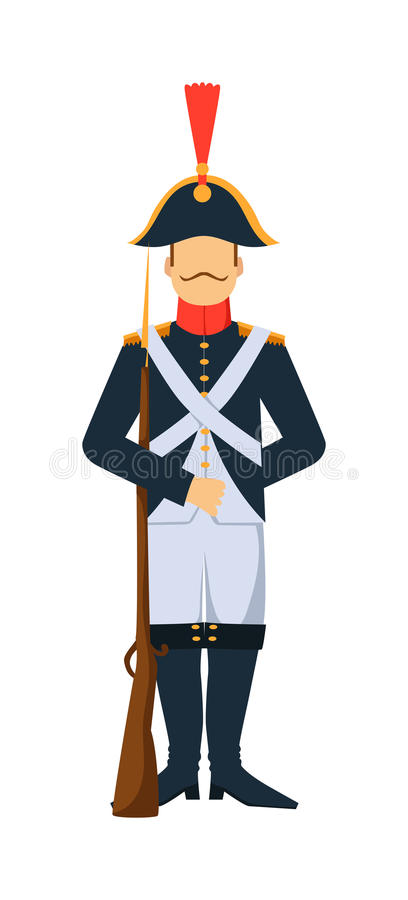 Free French Troop Old Style Armed Forces Man With Weapon Illustration Stock Image - 68133141