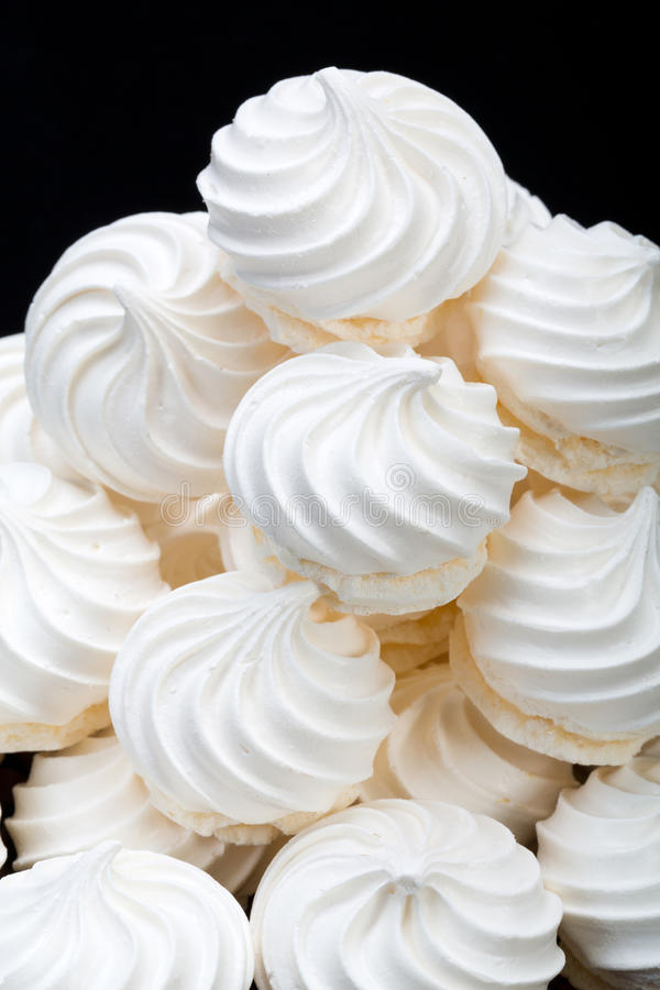 French vanilla meringue cookies. Close up of French vanilla meringue cookies stock photography