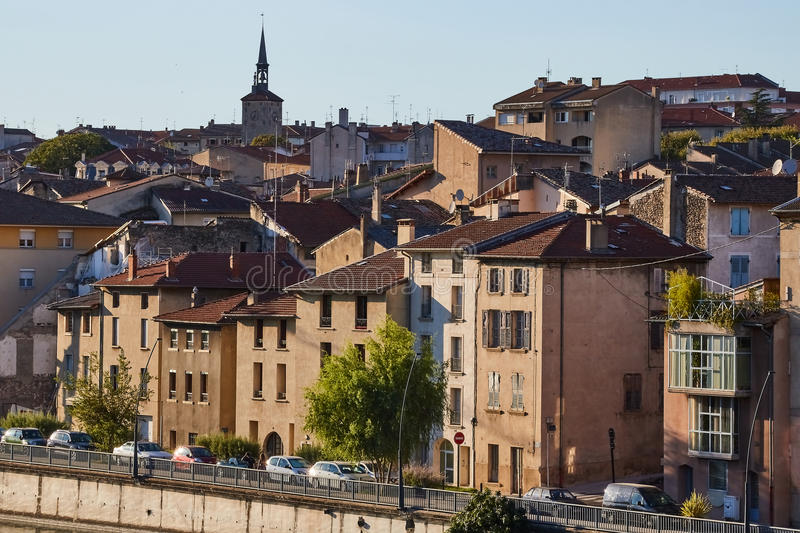 French village of Bourg de Peage, France. Bourg de Peage is a commune in the Drome department and in the Auvergne Rhone Alpes region in southeastern France royalty free stock photo