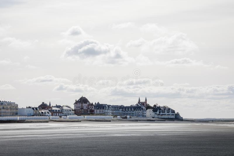 French Village of Le Crotoy. White sky stock image