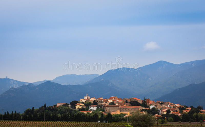 French village with red tile roof in the Pyrenees royalty free stock photos