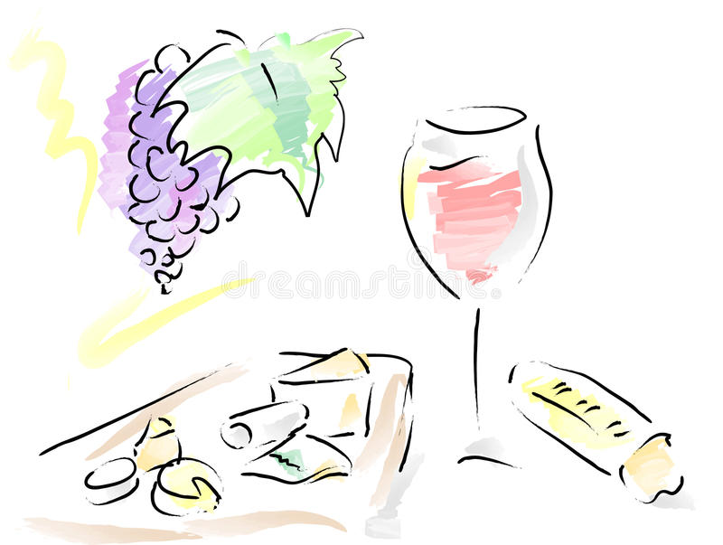French wine, cheese plate and french bread stock photography
